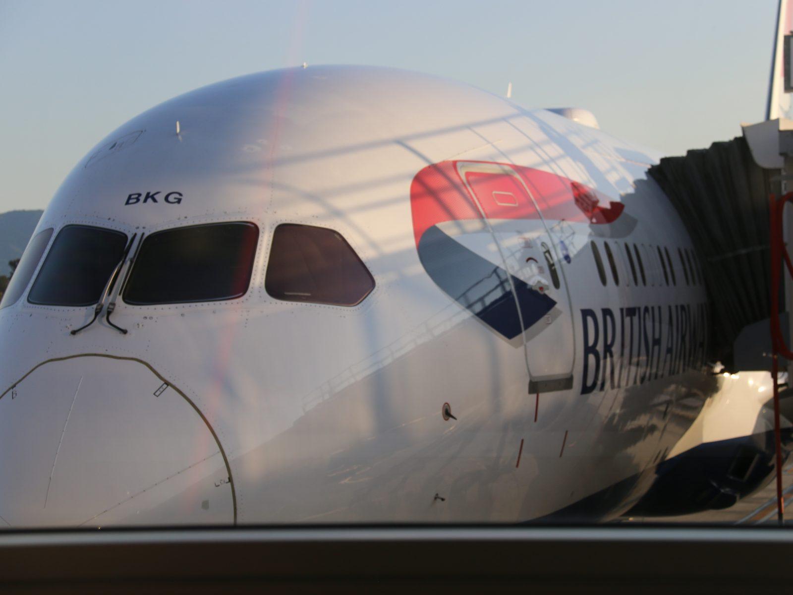 British Airways plane at San Jose Airport